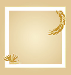 light brown leaves square photo frame vector image