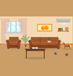living room interior in orange colors including vector image