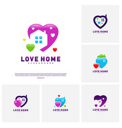 love home logo design concept business love house vector image
