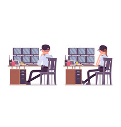 Male and female security guard monitoring alarm vector