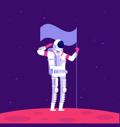 Mars colonization astronaut holging flag on red vector