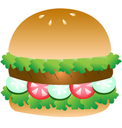 Meat grill and vegetable hamburger vector