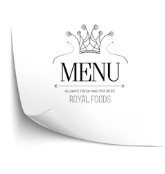 Menu restaurant with crown on white empty paper vector