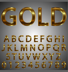 metal gold effect letters and numbers vector image