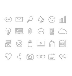 mono line pictures set of various symbols for vector image