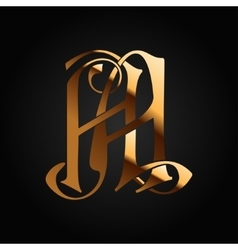 Monogram Aa gold isolated on black vector