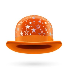 Orange starred bowler hat vector