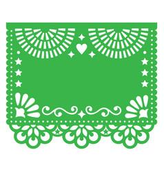 Papel picado blank template design floral vector