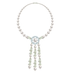 Pearl and diamonds necklace vector image