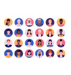 People face avatars cartoon smiley multiethnic vector