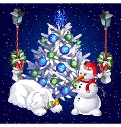 postcard snowman and sleeping polar bear vector image