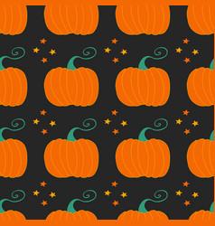 Pumpkins on black background seamless pattern vector