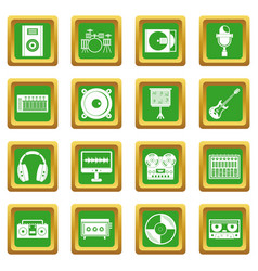 Recording studio items icons set green vector
