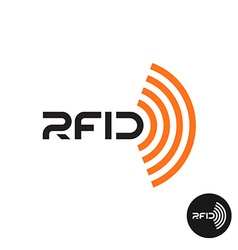 RFID tag icon Text logo with radio wireless waves vector image