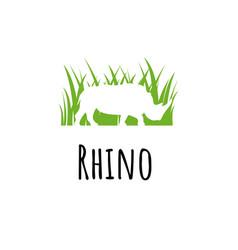 Rhine logo template silhoutte rhinoceros in green vector