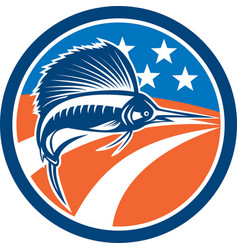 Sailfish Fish Jumping American Flag Circle Retro vector