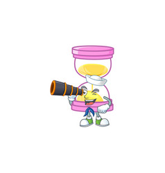 Sailor with binocular icon sandglass in the vector