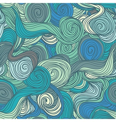 Seamless abstract hand-drawn blue waves pattern vector
