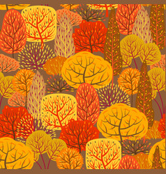 Seamless pattern with autumn stylized trees vector