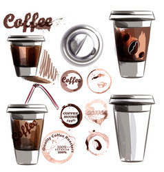 set from painted plastic glass with coffee vector image