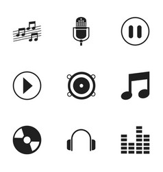 Set of 9 editable media icons includes symbols vector