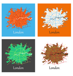 Set of flat color map of london united kingdom vector