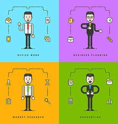 Set of Flat Conceptual of Businessman Office work vector