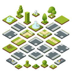 set of isometric city elements crossroads vector image