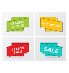 set of trendy flat sale ribbon with promo offer vector image