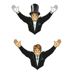 Smiling groom in hat and jacket vector image