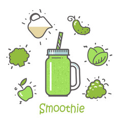 smoothie cocktail and ingredients vector image