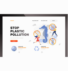 Stop plastic pollution web template vector
