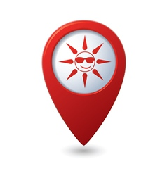 Sun in sunglasses icon on map pointer vector
