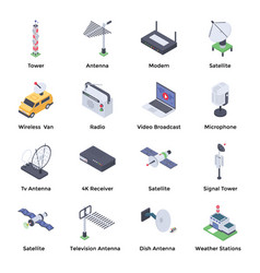Telecommunication isometric icons pack vector