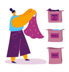 The woman sorts her clothes and organizes the vector