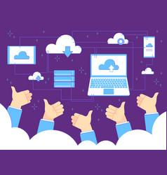 thumbs up feedback cloud computing and backups vector image