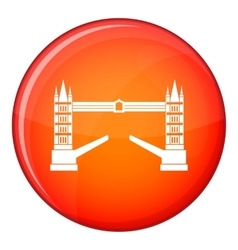 Tower bridge icon flat style vector