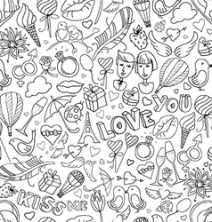 Valentines Day pattern Sketch style Black and vector image