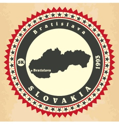 Vintage label-sticker cards of Slovakia vector image