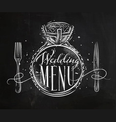 Wedding menu chalk vector