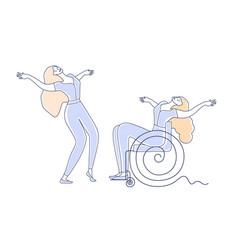 Wheelchair dance women with disabilities dancing vector