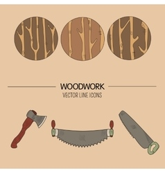 Woodwork icons vector