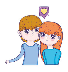 young lovers couple with speech bubble and heart vector image