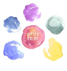 Colorful hand drawn watercolor circles vector