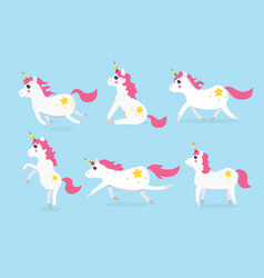 Cute unicorns character set of six vector