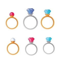 Jewelry Set of Rings with Gems of Different Colors vector image
