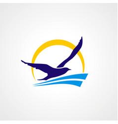 seagul fly travel beach logo vector image