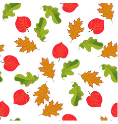 seamless pattern with hand drawn leaves on white vector image