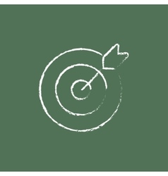 Target board and arrow icon drawn in chalk vector image