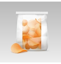 White Sealed Plastic Bag with Potato Crispy Chips vector image vector image